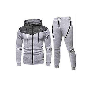 Gemdeck Men's Tracksuit Set Camouflage Sweatshirt Jogger Sweatpants Solid Patchwork Warm Sports Suit