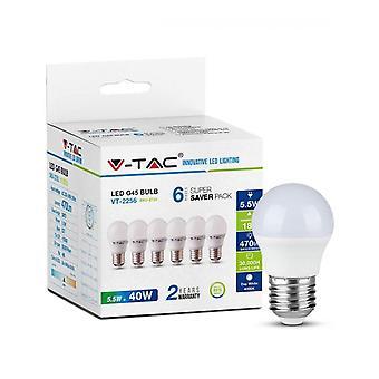 V-tac VT-2256 6-pack LED lampes ball - E27 - 5.5W - 470 Lm - 2700K