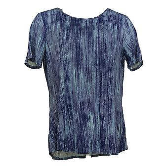 Lisa Rinna Collection Women's Top Print Knit W/ Back Detail Purple A291099