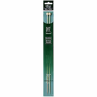Clover Knitting Pins: Single-Ended: Takumi Bamboo: 33cm x 2.50mm