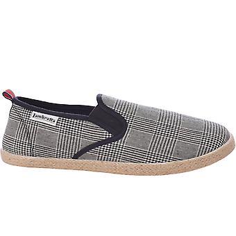 Lambretta Mens Kyak Check Slip On Summer Plimsoles Espadrilles Shoes - Black