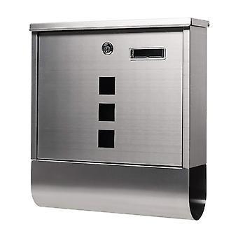 Letterbox acero inoxidable con ventanas y soporte de periódico - 33.5x30.5x9.5cm