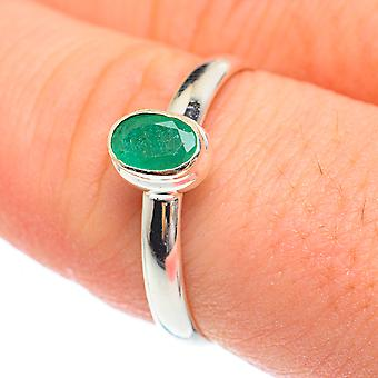 Zambien Emerald Ring Size 9 (925 Sterling Silver) - Handmade Boho Vintage Jewelry RING61764
