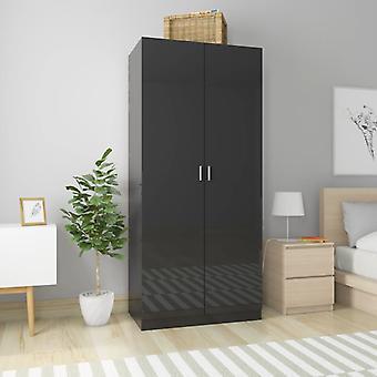 vidaXL armoire haute brillance-noir 90×52×200 cm panneau de particules