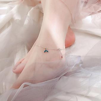 Sterling Silver Blue Fishtail Elegant Anklets & Bracelet Chain Leg Bracelet