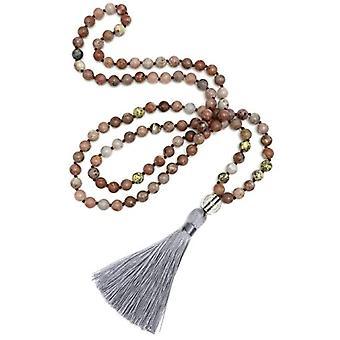 Benava Mala necklace for women, colorful, with beads in diamond gem, tassel pendant, 100 cm long