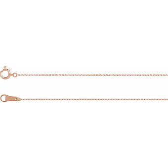 18k Rose Gold Solid Cable 18 Inch Chain With Spring Ring Jewelry Gifts for Women - 1.1 Grams