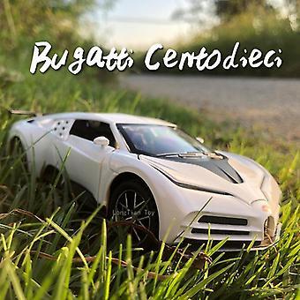 1:32 Bugatti die cast seosautomalli 110-vuotisjuhlapainos keräilyesineet Lasten lelut(Valkoinen)