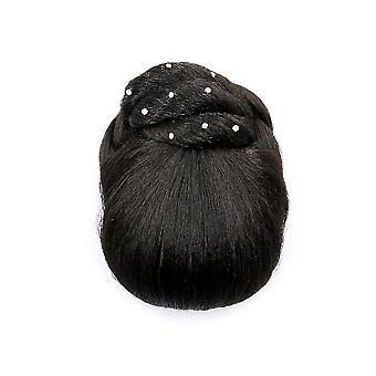 Алмазный парик волос булочка hairpin Синтетический Шиньон