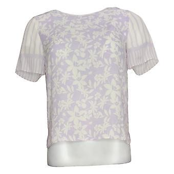 Vince Camuto Women's Top 2XS (XXS) Short-Sleeve Floral Lace Purple A352887
