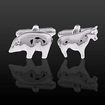 Cow & pig animal theme farm stainless steel cuff links