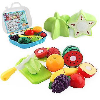 Fruit 20.5 * 7 * 18.5cm 11 pcs simulation couper fruits et légumes faire semblant valise set jouets éducatifs pour enfants az20480