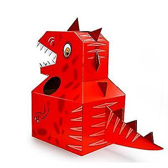 صندوق كرتون ديناصور للأطفال الأحمر، ملابس كرتونية قابلة للارتداء مصنوعة يدويا من الورق az19418