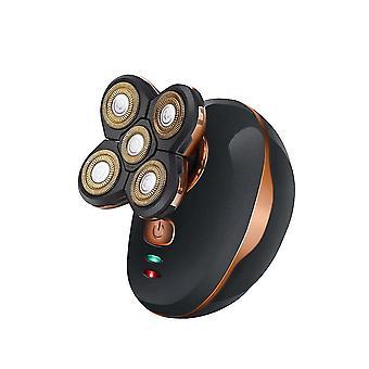 6 * 9Cm schwarz elektrische USB Rasierer Haar Schneider USB wiederaufladbare Bart Trimmer waschbare fünf Köpfe schwimmende Haarschere für Mann (schwarz) dt2553