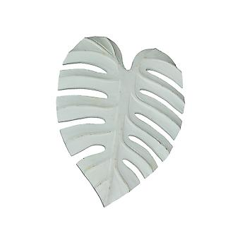 15 Inch White Tropical Leaf Hand Carved Wood Wall Art Hanging Plaque Home Decor