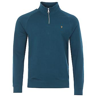 Farah Jim Organic Cotton Quarter Zip Sweatshirt - Atlantic Blue