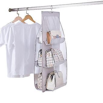 6 Pocket Foldable Hanging Bag Purse, Handbag Organizer Storage Closet Hanger(Gary)