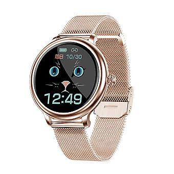 Smartwatch المرأة ساعة ذكية للماء IP68 المرأة الرقمية معدل ضربات القلب رصد الرياضة ساعة توقيت اللياقة البدنية تعقب مشاهدة سوار الذكية مراقبة ضغط الدم لفون الروبوت (الذهب)