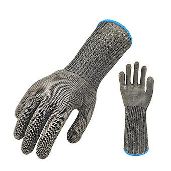 Long Stainless Steel Wire Work Gloves Safe Food Grade Anti Cut Gloves