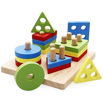 Holzpuzzles Geometrisches Stapel Steckspiel Farben und Formen Sortierspiel Lernspielzeug für