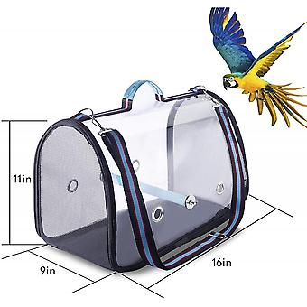 Bird Carrier With Perch And Feeding Cups Portable Bird Travel Cage Lightweight Breathable Bird Backpack For Parrot