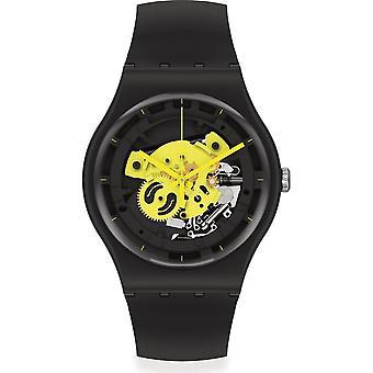 Swatch So32b111 Tid till gul stor svart silikon klocka
