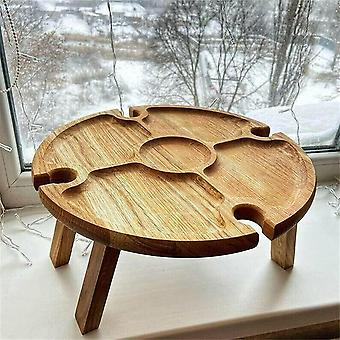 Outdoor Wooden Table Portable Picnic Table With Glass Holder 2 In 1 Outdoor Wine Hiking Camping