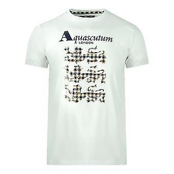 Aquascutum Triple Lion Check Logo Vit T-Shirt