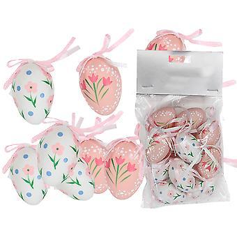 12 4cm roze en wit hangende plastic eieren voor paasbomen
