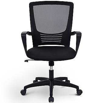 Mesh Swivel Computer Office Chair With Height Adjustment, Armrest And Ergonomic Lumbar Support