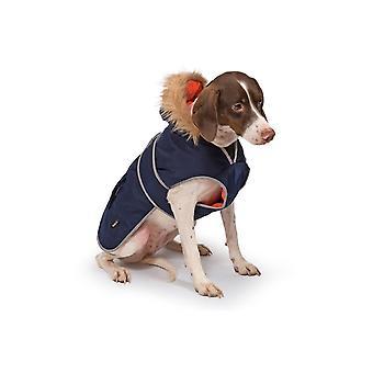 Dog apparel muddy paws parka coat navy extra large