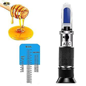 Honigrefraktometer für Honigfeuchtigkeit, Brix und Baume, 3-in-1-Anwendungen, 58-90% Brix-Skala Honig