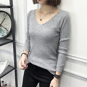 Solid Color Slim Sweater V-neck Bottoming Pullover Knitting Sweater For Women