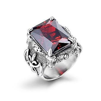 Anelli di fusione in acciaio titanio Domineering Retro Ruby Anello anello intarsiato Sa241