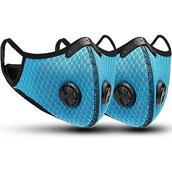 2 Sports Dust Masks Activated Carbon Filters Reusable Breathable Outdoor Activities Woodworking Mowing