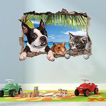 3d Hond Dier Muurstickers Muurstickers Muurschilderingen Creatieve Muurpasta