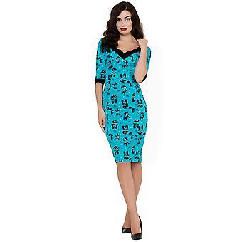 Voodoo vixen - cool kat - Damen wackeln Stil Kleid, blau