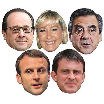 French Politicians 2D Card Party Face Masks 5 Pack