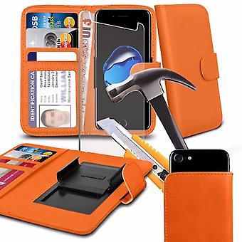 """i-Tronixs - NUU Mobile M2 (5"""") High Quality PU Leather Clamp Clip Wallet Case Cover with Tempered Glass - Orange"""