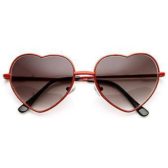 أزياء المرأة رقيقة القلب لطيف معدنية على شكل نظارة شمسية