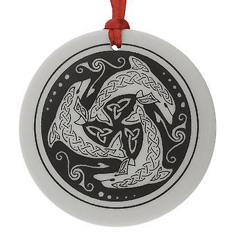 Ronda de Nehalennia céltica hecha a mano en forma de ornamento de Navidad de la porcelana / recuerdo