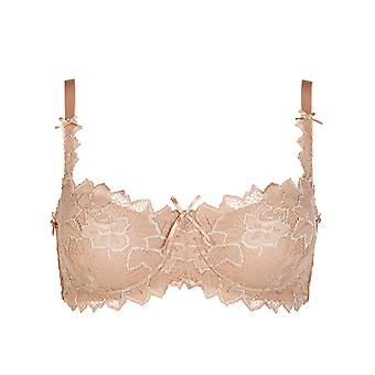 Womens Audelle Fiore Nude Floral Lace and Bow Detail Ladies Balcony Bra NWT