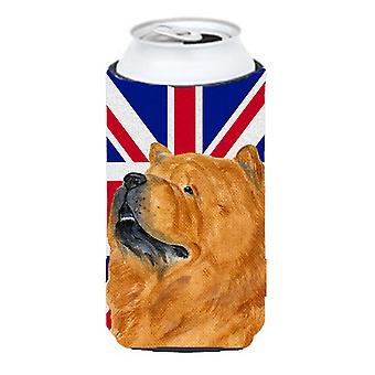 Chow Chow con inglés Union Jack británico bandera muchacho alto bebidas aislador Hugge