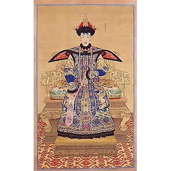 Retrato de uma imperatriz Qianlong Poster Print por não identificado artista chinês do século XIX (18 x 24)