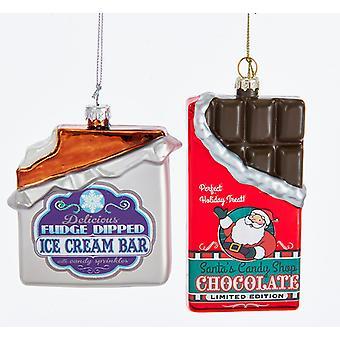 Kurt Adler Dark Chocolate Candy and Ice Cream Bar  Holiday Ornaments Set of 2