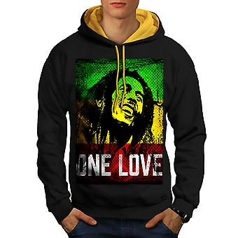 Marley One Love Pot Men Black (Gold Hood)Contrast Hoodie | Wellcoda