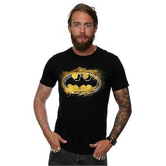 DC كاريكاتير الرجال & apos;ق باتمان رذاذ شعار تي شيرت