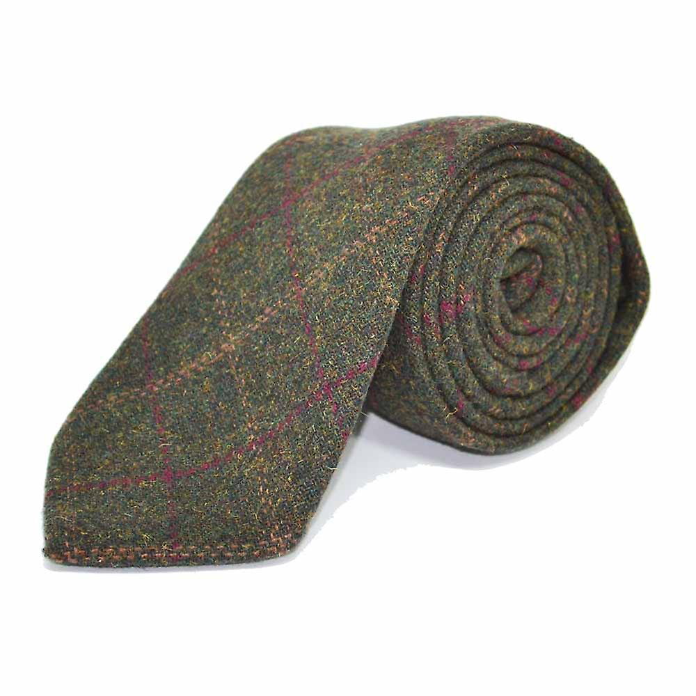 Heritage Check Moss Green Tie & Pocket Square Set - Tweed, Plaid Country Look