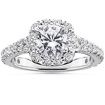 2 1/2Ct Cushion Halo Enhanced Diamond Engagement Ring 14K White Gold