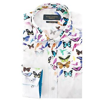 Cetim de algodão branco Londres guia flutuante borboleta imprime Mens camisa